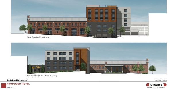 St. Paul Street and Pine Street elevations. Courtesy of Redstone.