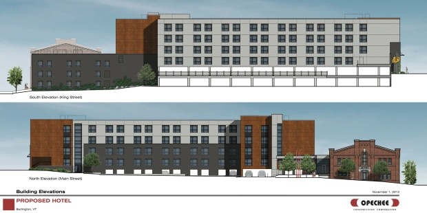 The King Street and Main Street elevations of the project. Photo courtesy of Redstone.