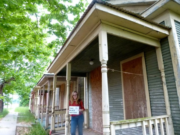 Kelly showing that the shotgun houses matter!