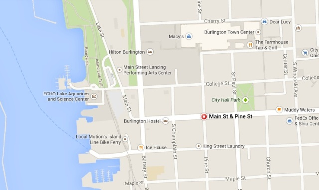 The Armory is located at the corner of Main Street and Pine Street. Note its location between the waterfront and Church Street.
