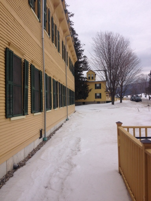 The Bread Loaf Inn (not a public inn), built in 1861 is in need of more maintenance than the other buildings.