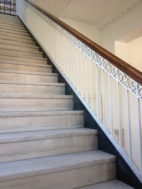 Marble staircase in the old post office in White River Junction, VT. Now home to the Center for Cartoon Studies.