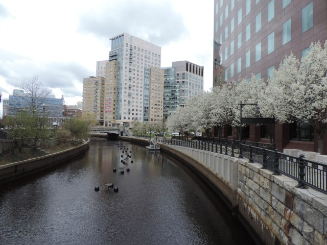 Along the riverwalk in downtown Providence.