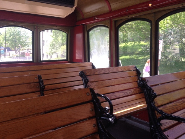 The immaculate interior of the trolley.