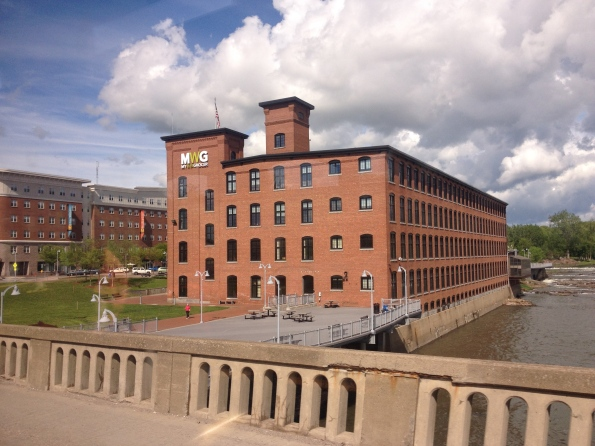 Crossing into Winooski, the Champlain Mill in the background.