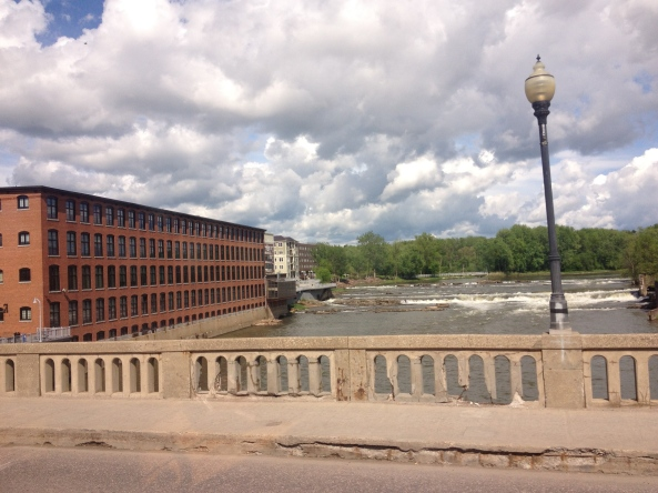 Over the Winooski River (Winooski is Burlington's neighbor). Don't look too closely at the railing.