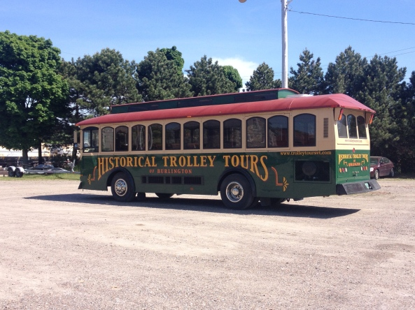 All aboard. When not in operation, the trolleys are parked near Perkins Pier in Burlington.