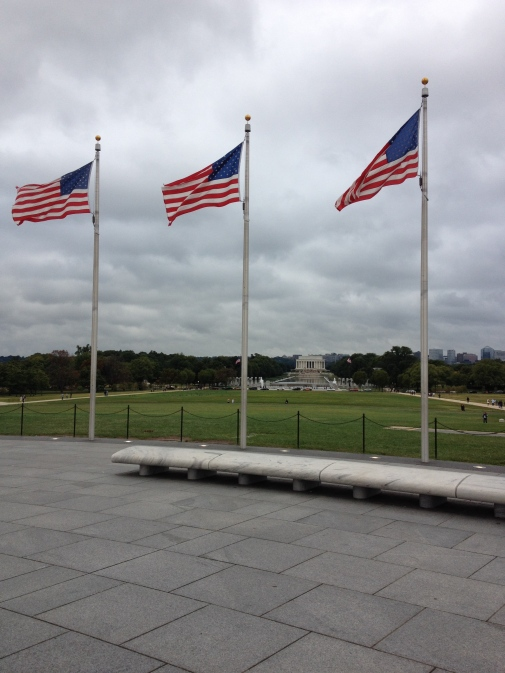 U.S. flags surround the Washington Monument.