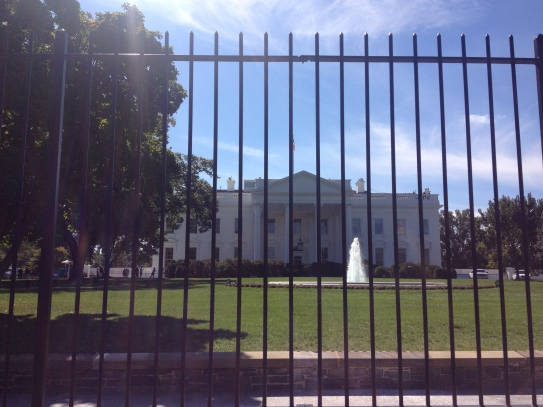 The White House, behind a fence.