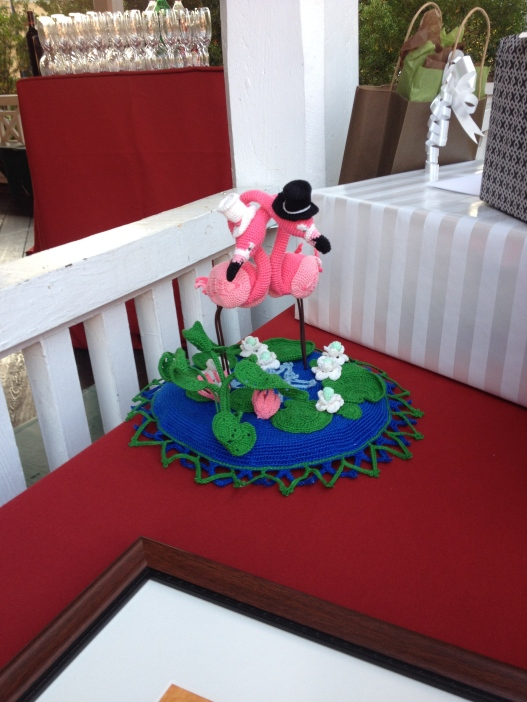 This needs no explanation, except that it was handmade by the best man's mother. Everyone gets in on the flamingos.