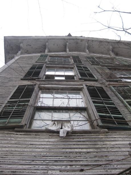 Broken windows, curtains, shutters.