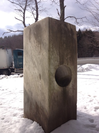 The Viktor Rogy 1968 marble sculpture in the old Guilford rest stop, prior to relocation and cleaning.