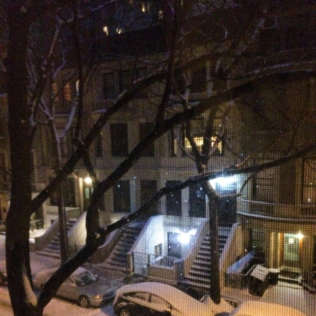 A snowy evening in New York City.