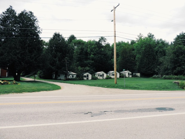 Spotted while traveling on US Route 2 in Marshfield, VT. This is a common arrangement of tourist cabins.