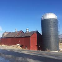 The Dean Farm, Brandon, VT. Barn with twin internal slate roof silos (left), ca. 1830. #presinpink